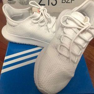 All white adidas tubular shadow